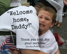 """The """"Welcome home"""" hugs can be just as heart-wrenching as the goodbyes. We are grateful for ALL who serve, including the children in military families. Much is asked of them -- much of it is very hard. In April -- the Month of the Military Child -- our nation pauses to recognize and honor the amazing sacrifices made by these special young Americans. (Photo credit: B. Falkin. Used with permission.)"""