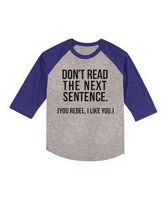 Heather & Royal Blue 'Don't Read' Raglan Tee - Kids