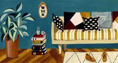 Le salon bleu - Mélanie Voituriez #illustration #gouache #melanievoituriez