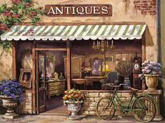 Global Gallery 'Antique Shop' by Sung Kim Painting Print on Wrapped Canvas Size: Counted Cross Stitch Patterns, Cross Stitch Embroidery, Belle Image Nature, Paint By Number, Antique Shops, Vintage Shops, Vintage Antiques, Art Prints, Illustration