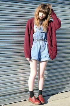 dungarees and maroon, cable cardigan. three of my trends in one!
