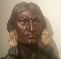 SITTING BULL countertop display cigar store indian tobacco humidor ny statue vtg