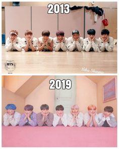 bts in 2013 vs bts in 2019 Bts Funny, Bts Memes Hilarious, Funny Boy, Bts Taehyung, Bts Bangtan Boy, Bts Jimin, Foto Bts, Shop Bts, Bts Group Photos