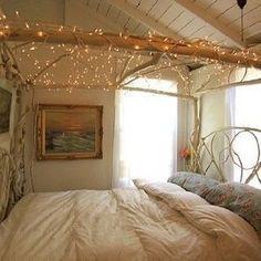 Image via We Heart It #bedroom #bohemian #girly #lights #room
