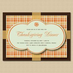 Thanksgiving Dinner or Fall Party Invitations on Etsy, $15.00