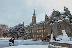 Georgetown University in winter - coming from Iowa, I thought everyone was crazy when it snowed in DC.  The city, government, schools all shut down!