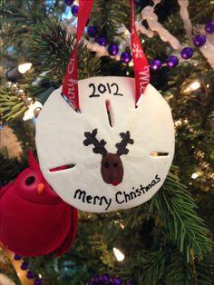 Reindeer Thumb Print on Sand Dollar Ornament