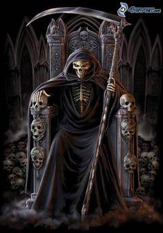Grim Reaper , gloomy skull , skulls , scythe