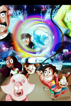Wow this was a BANGIN' week for the series Gravity Falls and Steven Universe! I seriously cant get enough of these two shows I felt a pic was in order. Gravity Falls and Steven Universe Gravity Falls Crossover, Fandom Crossover, Steven Universe Crossover, Desenhos Cartoon Network, Dipcifica, Randy Cunningham, Over The Garden Wall, Cartoon Crossovers, Cartoon Shows