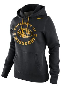 Missouri (Mizzou) Tigers Nike Hooded Sweatshirt - Tigers Womens Black Stamp Long Sleeve Hoodie http://www.rallyhouse.com/shop/missouri-tigers-nike-12511044 $60.00