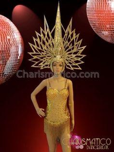 CHARISMATICO-A-golden-leotard-dress-with-an-Egyptian-royal-diva-headdress