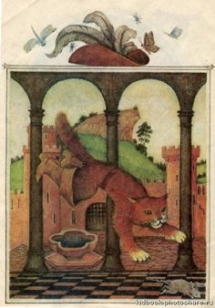 """Mikhail Fedorov illustration for """"Puss in Boots"""". John Bauer, Illustrations And Posters, Fantasy Art, Fairy Tales, Europe, Gallery, Artist, Painting, Animals"""
