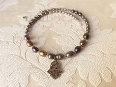 Khamsa .925 Sterling Silver Pendant on Grey Multi Color by dalfiya