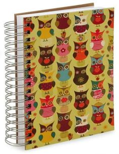 100% Recycled Jumbo Owls Lined Spiral Journal (6''x9'')