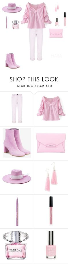 """""""Untitled #117"""" by ekinirmak ❤ liked on Polyvore featuring Current/Elliott, WithChic, Maryam Nassir Zadeh, Givenchy, Littledoe, Eddie Borgo, Too Faced Cosmetics, Huda Beauty, Versace and Topshop"""