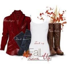 Deep red cardigan, jeans, tank & knee boots