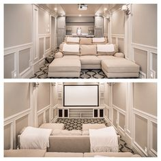 This smaller narrow space for a home theater room worked out nicely. This smaller narrow space for a home theater room worked out nicely. Movie Theater Rooms, Home Cinema Room, Home Theater Seating, Home Theater Design, Movie Rooms, Small Movie Room, Home Theatre Rooms, Cinema Room Small, Theater Room Decor