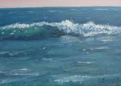 Jennifer Boswell Original Modern California Impressionist Textured  Seascape Ocean Surf Waves Surreal Abstract Oil Painting 5x7