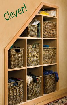 Creative Space- Notch out a wall between studs and make shelves to hold baskets for onions, potatoes or small appliances and all the other things that gather on valuable counter spaces.