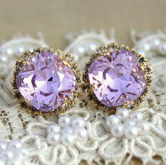 Provance Purple violet lavender Crystal stud big earring - 14 k plated gold post earrings real swarovski rhinestones. $45.00, via Etsy.