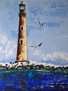 Painting Of The San Island Lighthouse