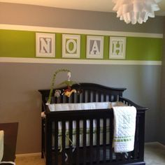 Doing something similar in Kaden's room but with an orange stripe (no white borders). Love the frames inside  - just need to be a little smaller.