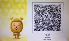 Nintendo Tomodachi Life, Mii - Winnie the Pooh (Disney) QR Code Wii Characters, Ds Xl, Animal Crossing 3ds, Life Code, Our Code, Game Guide, Creating A Business, Pencil Art Drawings, Pinterest Blog