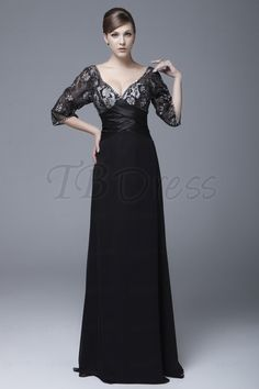 Charming Lace A-Line V-Neck 3/4-Sleeves Floor-length Ela's Mother of the Bride Dress