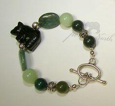 bear bracelet, black bear, bear lover, obsidian bear