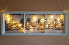 Christmas Trends, Christmas Projects, Christmas Crafts, Christmas Decorations, Xmas, Fun Crafts, Diy And Crafts, Lighted Canvas, Old Windows