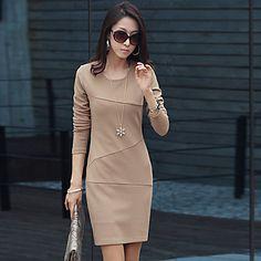 Weimeijia elegante vestido del color sólido de la manga que basa largo delgado – EUR € 11.54