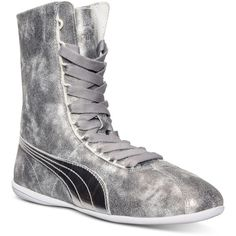 Puma Women's Eskiva Hi Casual Sneakers from Finish Line ($120) ❤ liked on Polyvore featuring shoes, sneakers, silver metallic, puma sneakers, hi tops, puma trainers, high top sneakers and puma high tops