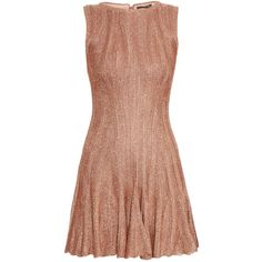 Alexander McQueen Fluted-hem metallic-knit dress ($892) ❤ liked on Polyvore featuring dresses, gold, boxy dress, beige knit dress, lace up dress, alexander mcqueen dresses and metallic dress