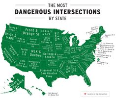 The most dangerous intersections by U.S. state