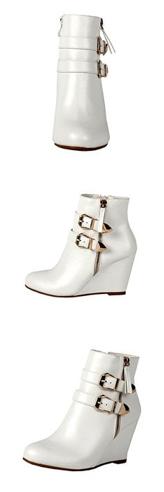 West Blvd Amman Ankle Wedges Boots, White Pu, 8.5