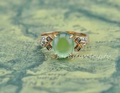 Prehnite and Diamond Ring in Rose Gold, $699.99 from Etsy seller SaraJewelryStu