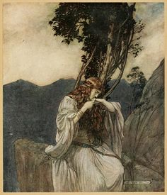 """Arthur Rackham """"WAGNER`S RING CYCLE: Twilight of the Gods"""" (1911) """"Brunnhilde kisses the ring that Siegfried has left with her."""""""