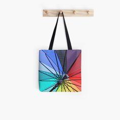 'Umbrella in rainbow colors' Tote Bag by WesternExposure Buy Umbrella, Hard Wear, Poplin Fabric, Rainbow Colors, Tote Bags, Chiffon Tops, Hand Sewing, Cotton, Rainbow Colours