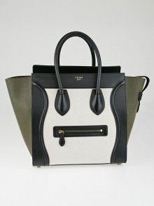 Celine Tri-Color Canvas and Calfskin Mini Luggage Tote Bag