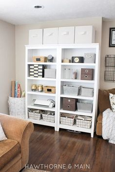 Check out this space! Just because she doesn't have a designated craft room doesn't mean she can't be organized and have a craft space!