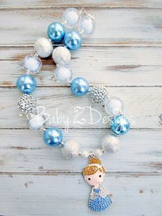 Cinderella Inspired Chunky Necklace in Blue Silver by babyzdesigns