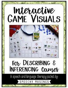 Visuals for describing games like Hedbanz and Jeepers Peepers. Perfect for working on language skills in speech therapy. From Speechy Musings.
