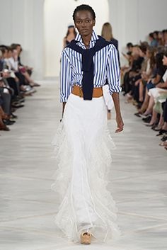 Ralph Lauren Spring 2016: navy-and-white-striped luxe cotton shirt, blue cashmere cable-knit sweater, ivory silk organza embroidered skirt, natural woven-raffia cork platform