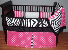 Sweet Candy Zebra Baby Bedding  Included in this custom crib set is the plush bumper, minky soft blanket, and box pleat crib skirt.  There are lots of details in this modern set including soft black and white minky, black grosgrain ties, hot pink and white polka dot and stripe twill, and designer black and white zebra.