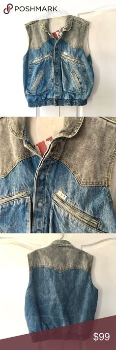 VTG 80's BTTF Marty Mcfly Guess Denim Jean Vest Vintage 80's Guess Georges Marciano Denim Jean Vest.   These jackets are extremely hard to find! This jacket dates back to the mid 80s during the time of great movies like Back to the Future.   Very popular and guaranteed to be a conversation starter.  The vest is a must have for your vintage wardrobe.   The vest is a size Large  Measurements: Pit to Pit: 22 in Top to Bottom: 24 in Guess Other
