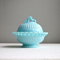 Vintage Blue Milk Glass Covered Bowl by Fostoria -  Arlington Pattern Open Rim Candy Dish 1950s