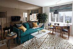 proposta per come arredare un soggiorno rettangolare con divano ...