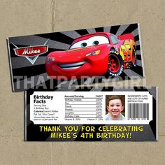 24 Cars  Birthday Party Favors Candy Bar Wrappers