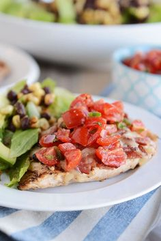 The flavors in this Monterey chicken {a Chili's copycat recipe} are out of this world delicious! Tender grilled chicken, topped with bacon, cheese and a simple homemade pico de gallo. Yum! #grilledchicken #montereychicken #chiliscopycat #chicken #maindish #delish #betterthantakeout #melskitchencafe