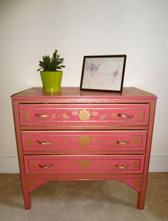 HOC Indian Pattern Hand Painted Chest Of Drawers